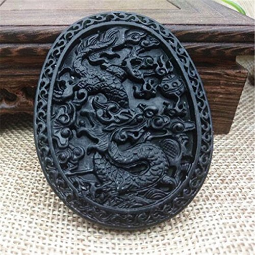 (New Chinese Natural Black Green Jade Hand Carved Jade Pendant Dragon Lucky Amulet)