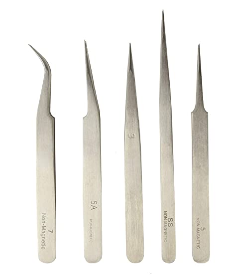 amiciTools Professional Anti-Static Non Magnetic Stainless Steel ESD  Tweezers 6 Pcs (5 Pieces)