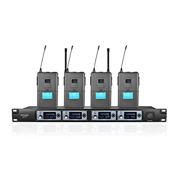ammoon Sistema de Micrófono de Mano Profesional 4D-B 4 Canales UHF Inalámbrico 4 Micrófonos