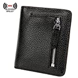 S-ZONE Women's Genuine Leather RFID Blocking Bifold Pocket Small Wallet Coin Holder (Black)