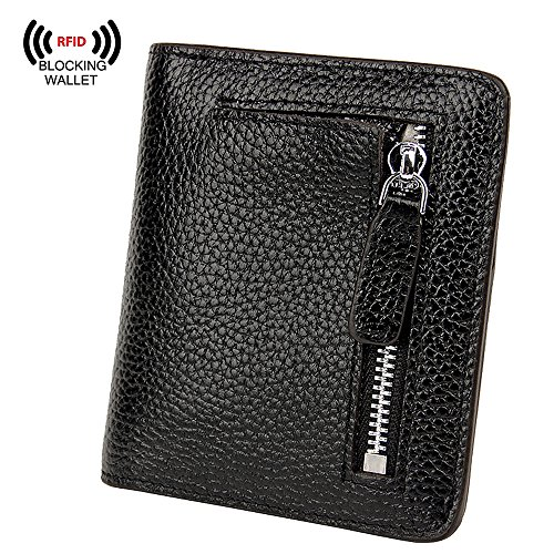 S-ZONE Women's Genuine Leather RFID Blocking Bifold Pocket Small Wallet Coin Holder (Black) by S-ZONE