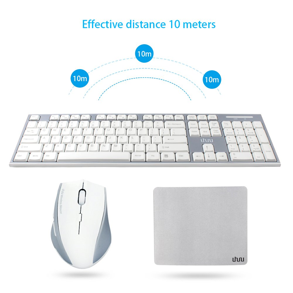 Wireless Keyboard and Mouse, UHURU 2.4GHz Compact Wireless Keyboard Mouse Combo with 13 Hotkeys for Windows 10/8 / 7 / Vista/XP, Laptop, Smart TV, Surface Pro (White) by UHURU
