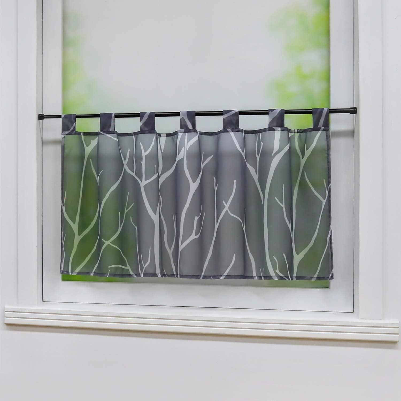 BxH 60x120cm Gris//Blanc Joyswahl Rideau Brise-bise en Voile Transparent Motif Branches de Tatjane Polyester