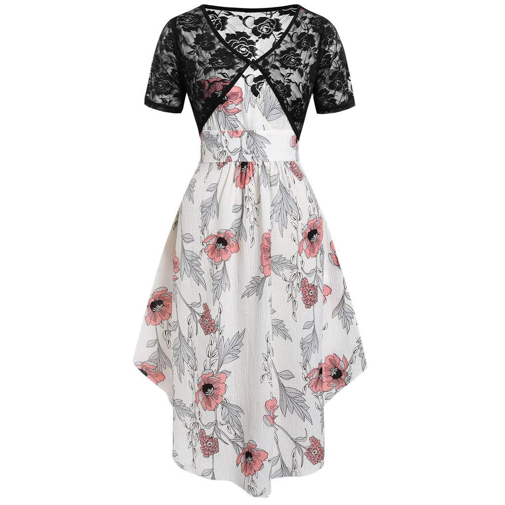 Women Strap Swing Midi Dress Summer New Wrap V- Neck Floral Print with Lace Top Plain Two -Pieces Short Beach Dresses (XX-Large, White) by LANTOVI Women Dress (Image #1)