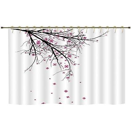 Shower CurtainHouse DecorCherry Blossoming Falling Petals Flowers Springtime Park Simple Illustration Print