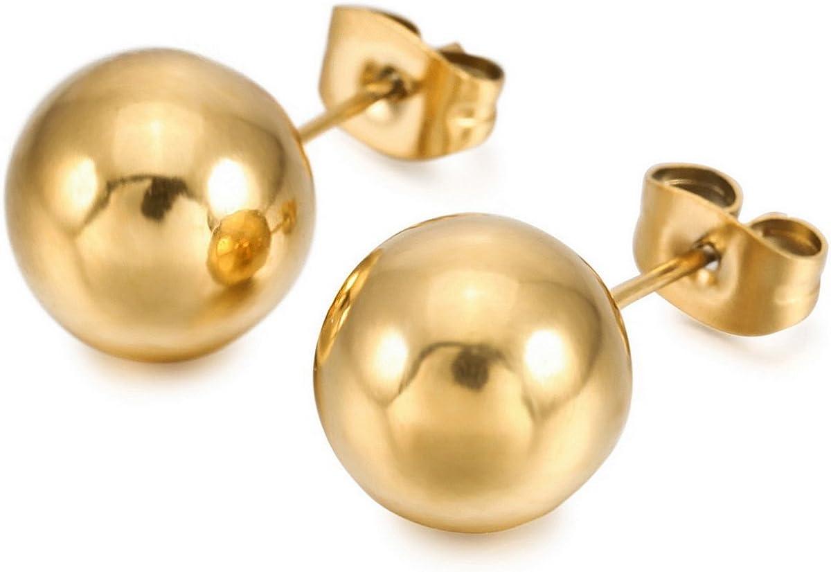 MunkiMix 2~10mm Acero Inoxidable Semental Pendientes Plata Oro Dorado Dos Tono Negro Bola Bead Bola