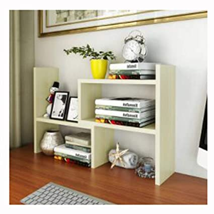 Nordic Small Office Bookshelf Wooden Simple Table Top Racks Desk Storage RackB