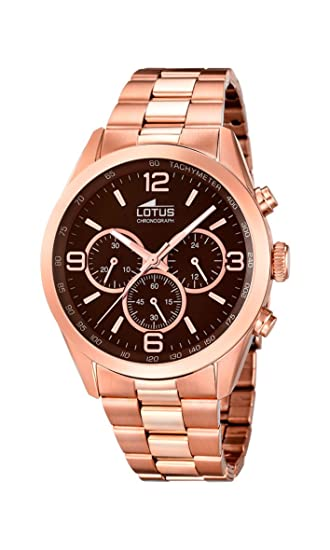 Lotus 18154/2 - Reloj de Pulsera Hombre, Acero Inoxidable, Color Oro Rosa: Amazon.es: Relojes