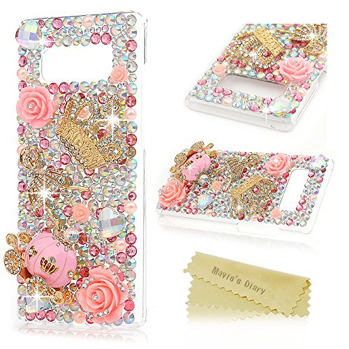 Note 8 Case, Maviss Diary Clear Slim Fit Luxury 3D Handmade Bling Crystal Rhinestone Diamonds Sparkle Pink Pumpkin Cart Floral Crown Full Body Protective Hard PC Cover for Samsung Galaxy Note 8