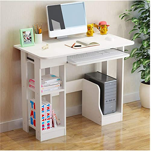 Xesvk Desktop Computer Desk Study Writing Desk with Keyboard Stand, Drawer and Bookshelf Home Modern Minimalist Desk Creative Writing Workstation