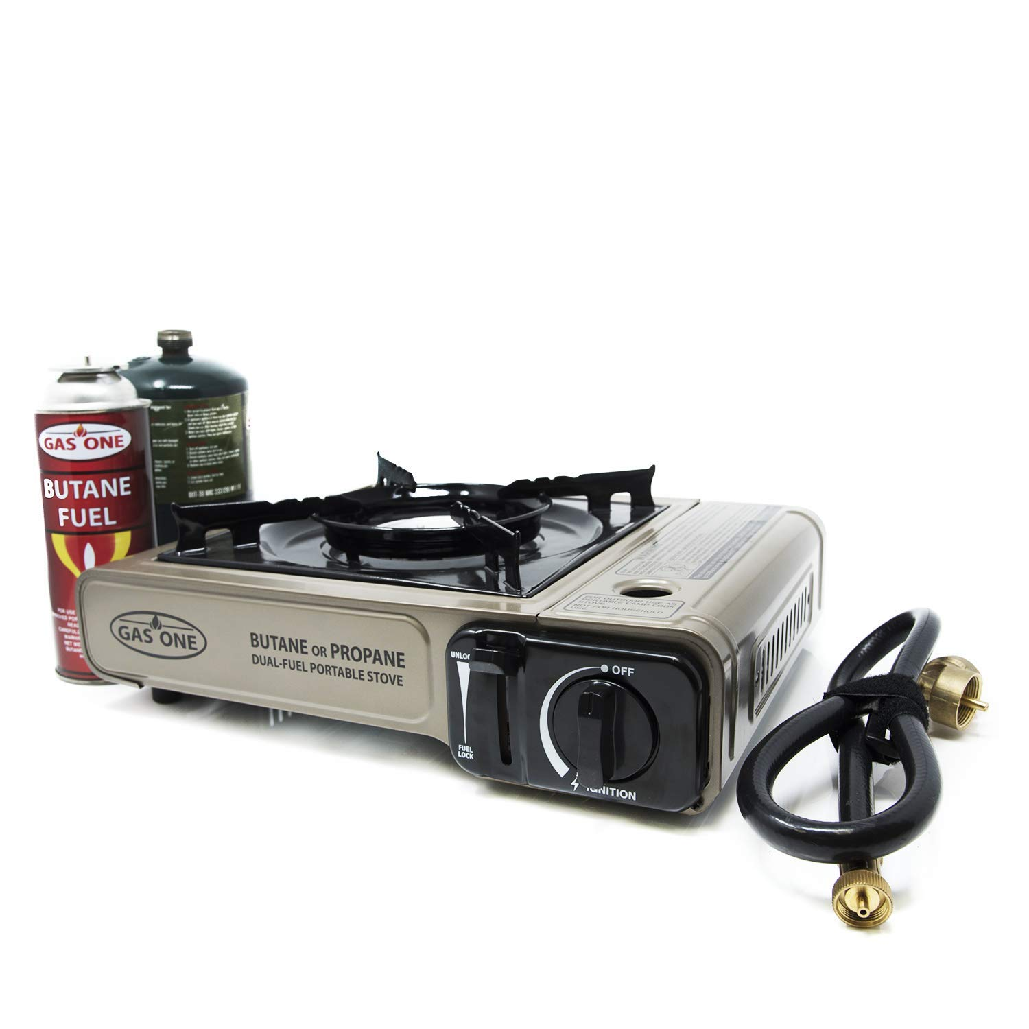 Gas ONE Propane or Butane Stove GS-3400P Dual Fuel Portable Camping and Backpacking Gas Stove Burner with Carrying Case Great for Emergency Preparedness Kit Gold