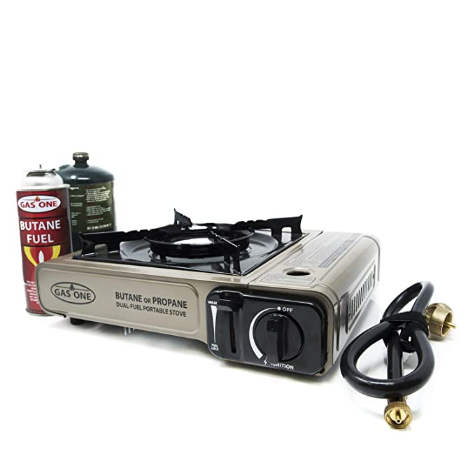 Gas ONE Propane or Butane Stove GS-3400P Dual Fuel Portable Camping and Backpacking Gas Stove Burner with Carrying Case Great for Emergency Preparedness Kit (Gold) best camp stoves