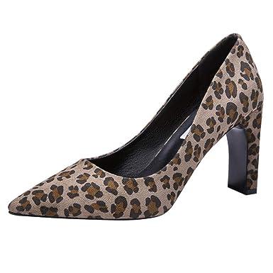Darringls_Zapatos de Invierno Mujer,Zapatillas Puntiagudo Estampado de Leopardo Botas Moda Zapatos de tacón Alto: Amazon.es: Ropa y accesorios