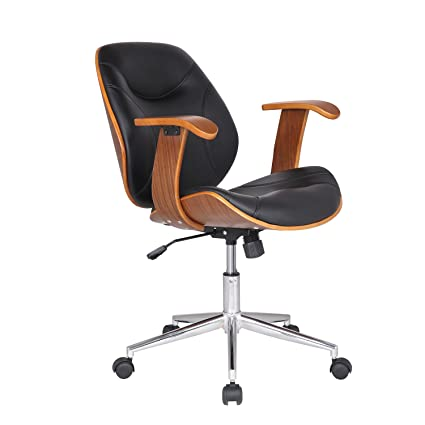 Exceptionnel Adeco Bentwood Adjustable Swivel Home Office Mobile Desk Chairs With Wood  Arm Rest Caster Wheels (