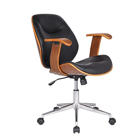 Adeco Bentwood Adjustable Swivel Home Office Mobile Desk Chairs With Wood  Arm Rest Caster Wheels (