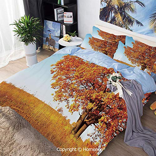 (Bedding Sheets Set 3-Piece Bed Set,Lonely Ancient Oak Tree Grass Bushes Field Serene Rural Scenery,Queen Size,Include 1 Quilt Cover+2 Pillow case,Orange Yellow Light)
