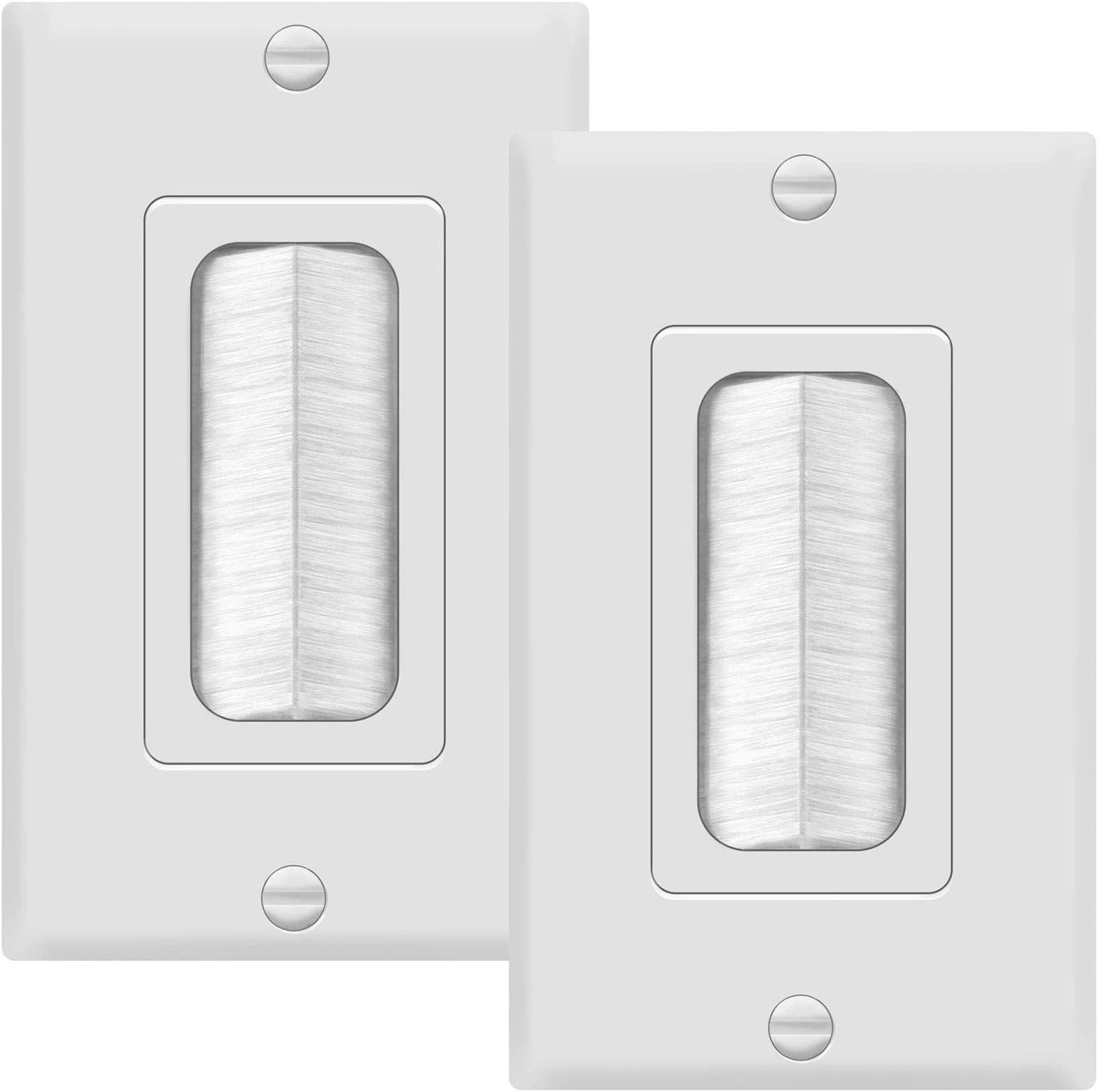 """TOPGREENER Bristled Brush Wall Plate Multimedia Pass-Through Insert with Decorator Wall Plate for Low Voltage Cables, Size 1-Gang 4.50"""" x 2.75"""", Polycarbonate Thermoplastic, TG8891-2PCS, White 2 Pack"""