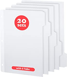 Binder Dividers | White Dividers for 3 Ring Binder | Binder Tabs | Notebook Dividers with Tabs | Index Tabs | File Folder | 5 Tab | 5-Tab // Bluestone Brands