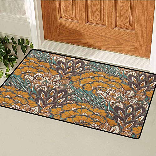 GUUVOR Floral Welcome Door mat Pattern of Flowers and Peacock Feathers Floral Arrangement Artwork Door mat is odorless and Durable W35.4 x L47.2 Inch Petrol Blue and Pale Coffee