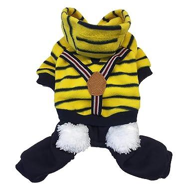 Ropa para Mascotas,Dragon868 Hermoso Invierno cálido Felpa Rayas Babero Camisas Pantalones para Perros de Mascota: Amazon.es: Ropa y accesorios