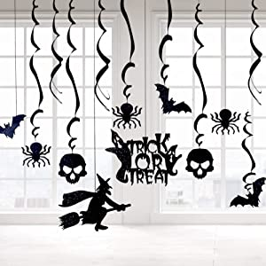 Halloween Hanging Swirl Ceiling Decorations, 30Pcs Haunted House Chandelier Decor with Witches Spider Bats Skull Ghost, Home Outdoor Indoor and Wall Ornaments Set Party Supplies