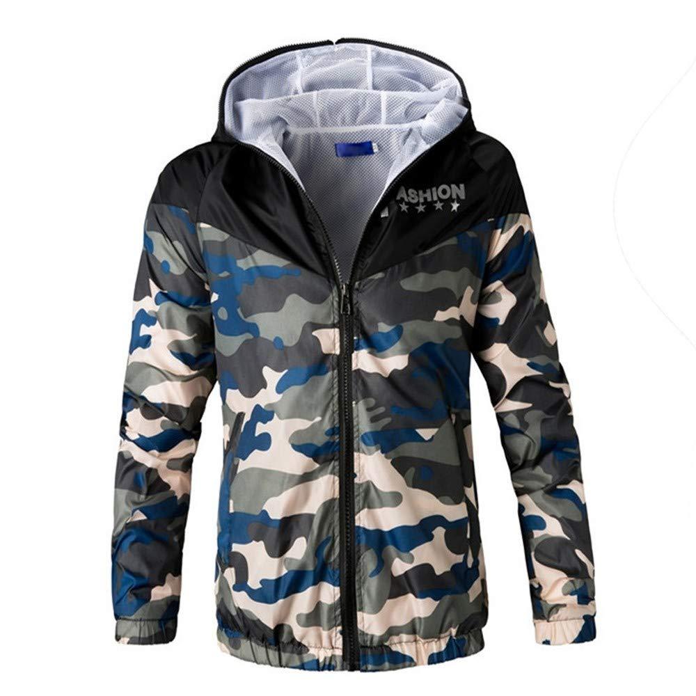 Hombre y niños chaqueta cárdigan Invierno, Sonnena ⚽ hombre casual moda chaqueta con capucha de camuflaje estampado manga larga dobladillo elástico botones al aire libre