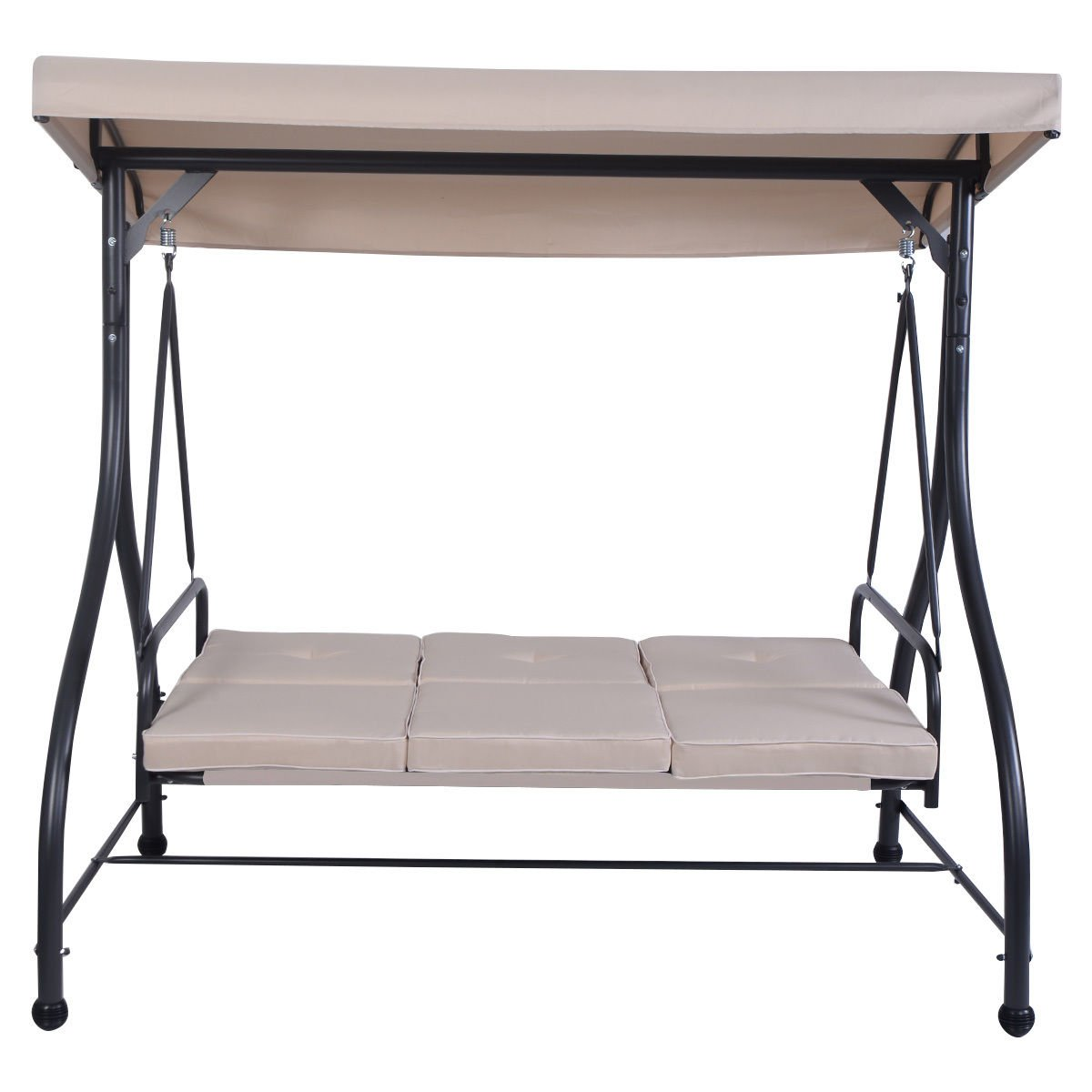Globe House Products GHP 750-Lbs Capacity Black Frame & Beige Fabric Steel 3-Seat Swing Bench with Cushions by Globe House Products (Image #2)