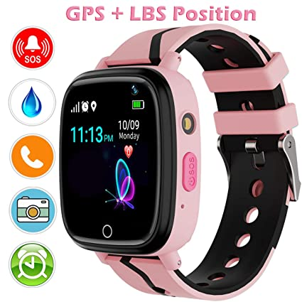 Kids Smart Watch with GPS Tracker, Kids Smartwatch Waterproof, HD Touch Screen Fitness Tracker SOS Camera, Watch Wrist Digital Watch Android Phone, ...