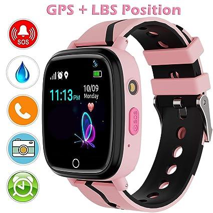 YENISEY GPS Smartwatch para Niños, localizador GPS Reloj Rastreador de TeléFono para Niñas y Niños Smartwatch con Monitor Remoto CáMara Linterna Reloj ...