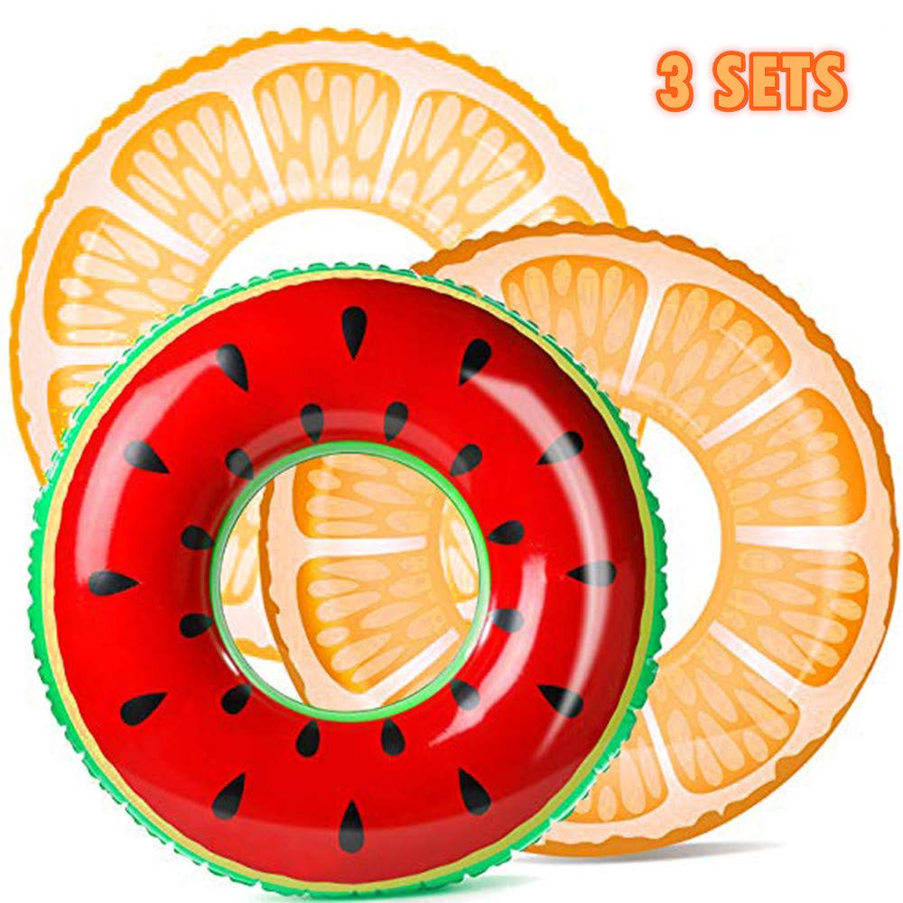 Innoo Tech Pool Floats, Pool Toys for Swimming Pool(3 Pack) with Summer Fruits Painting (Watermelon, Two Orange), Party Decorations, Suitable for Kids Over 8 Years Old by Innoo Tech
