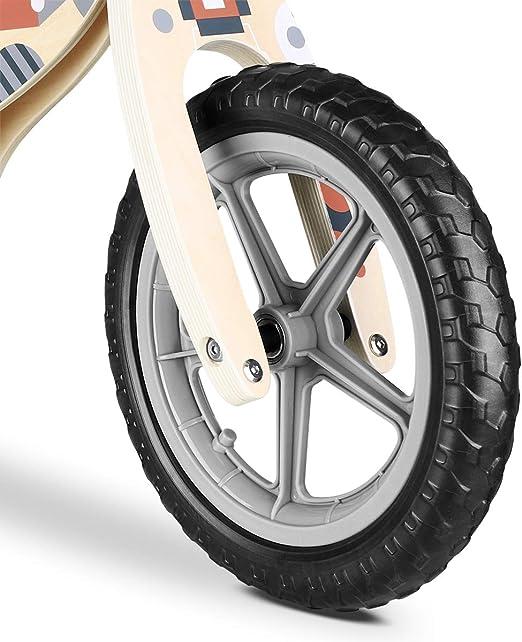 Lalaloom COSMO BIKE - Bicicleta sin pedales de madera para niños de 2 años (diseño espacio, andador para bebe, correpasillos para equilibrio, sillín regulable con ruedas de goma EVA), color Rojo: Amazon.es: