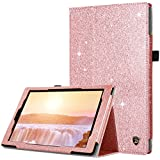 DUEDUE Case for All-New Amazon Fire HD 10 Tablet (7th/5th Generation, 2017/2015 Release) Slim Glitter Bling PU Leather Folio Stand Smart Cover Stylus Holder/Auto Wake/Sleep for Fire HD 10,Rose Gold