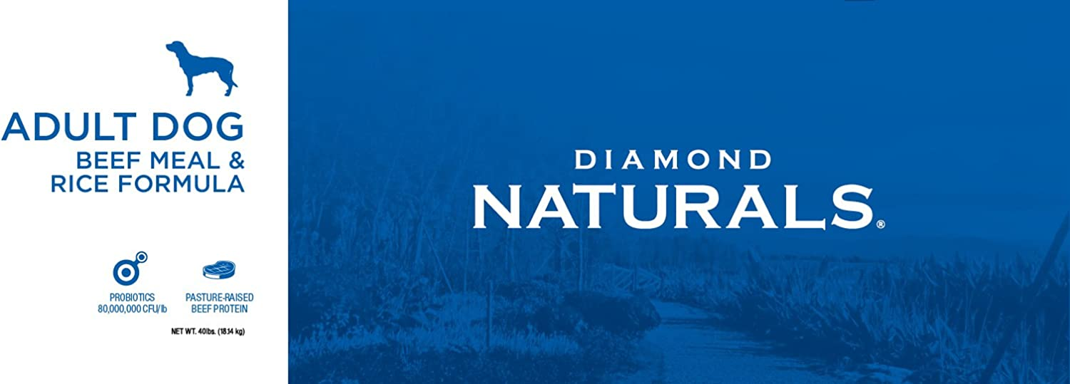 Diamond Naturals Adult Real Meat Recipe Premium Dry Dog Food With Grain and Real Pasture Raised Beef Protein 40Lb
