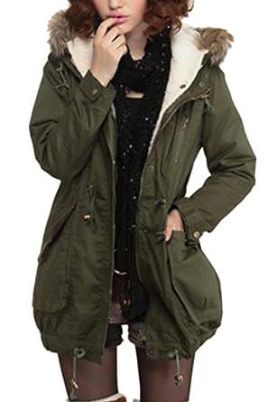 Moonpin Abrigos de Caliente de Berska Pelo con Capucha Forrada de Mujer Abrigos y Chaquetas de Invierno Chaquetas Navygreen XS: Amazon.es: Ropa y accesorios