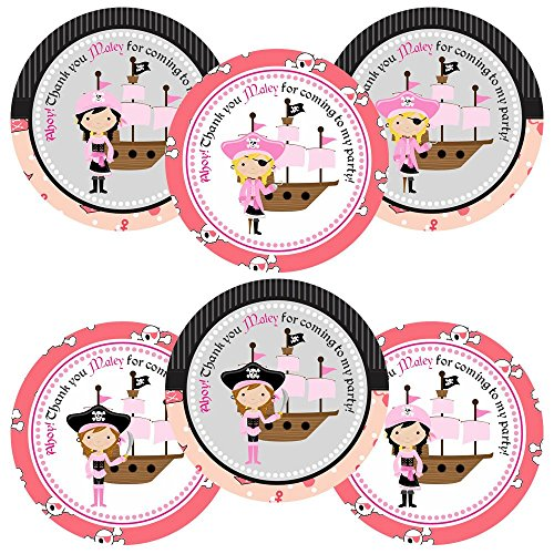 Pirate Girl Thank You Stickers for Birthday Party - Set of 30 (Customs Halloween Pirate)