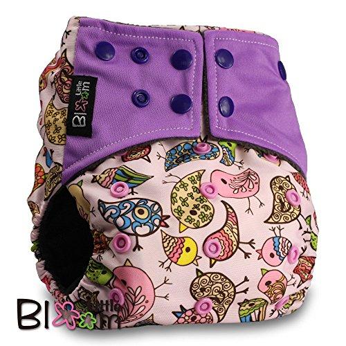 LittleBloom Waschbar Windel Babywindeln Stoffwindeln BAMBUS KOHLE, Schließung: POPPER, Muster 20, Mit 1 BAMBUS KOHLE Windeleinlagen