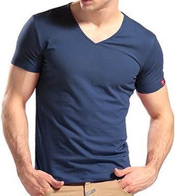 Minetom Hombres Slim Fit V-Cuello Camisetas Casual Manga ...