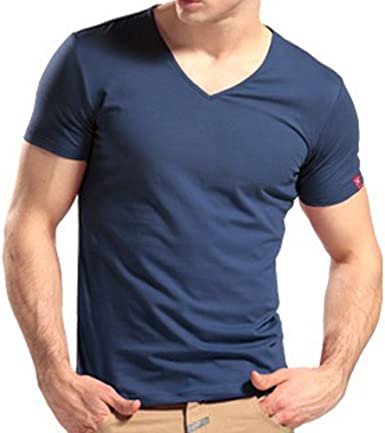Minetom Hombres Slim Fit V-Cuello Camisetas Casual Manga Corta Tapas Moda Camisa Polo Caramelo Colores: Amazon.es: Ropa y accesorios