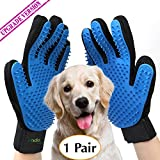 #9: Upgrade Version - Pet Grooming Glove - Gentle Deshedding Brush Gloves - Efficient Pet Hair Remover Mitt - Massage Tool with Enhanced Five Finger Design - Perfect for all types of Pet hair