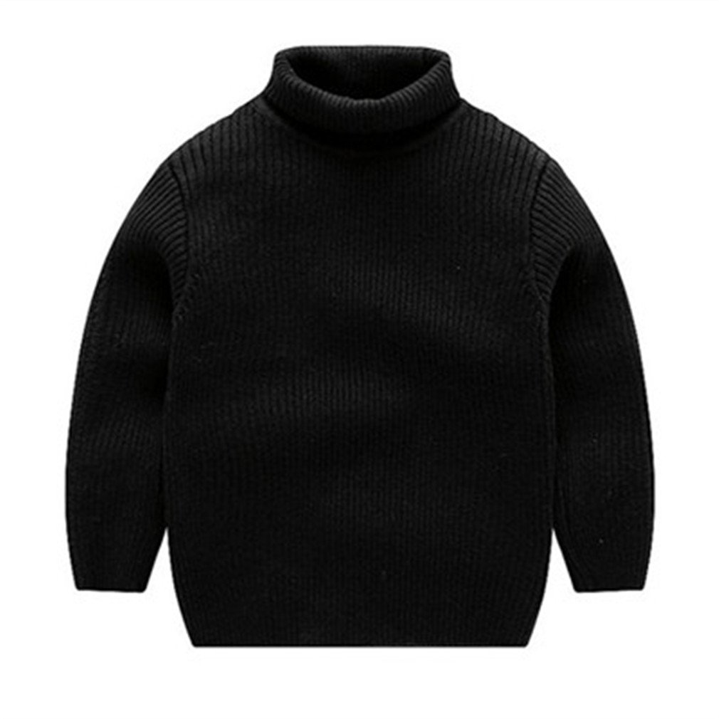 Kids Boys Turtleneck Fall Winter Solid Casual Pullover Sweater Black 6