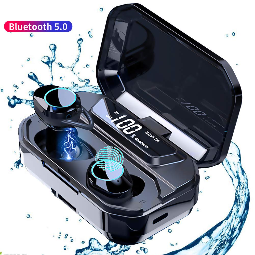 Wireless Earbuds, TWS Bluetooth 5.0 Earphone Smart Noise Cancelling Stereo HIFI Sound Headset 33000mAh Waterproof wireless Headphones with Microphone (black)