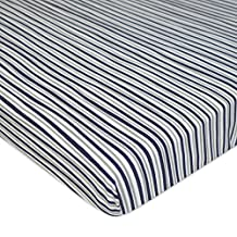TL Care 100% Cotton Jersey Knit Fitted Portable/Mini-Crib Sheet, Navy/Grey Sports