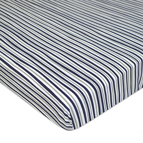 American Baby Company Printed 100% Cotton Jersey Knit Fitted Portable/Mini-Crib Sheet, Navy/Grey Funny Stripes, Soft Breathable, for -