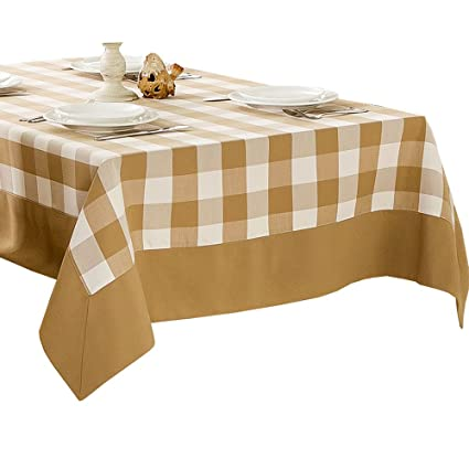 Merveilleux R.LANG Yarn Dyed Check Fabric Spillproof Tablecloth Light Brown 60 Inch  Square