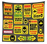 Lunarable Outer Space Tapestry Queen Size, Warning Ufo Signs with Alien Faces Heads Galactic Theme Paranormal Activity Design, Wall Hanging Bedspread Bed Cover Wall Decor, 88 W X 88 L Inches, Yellow