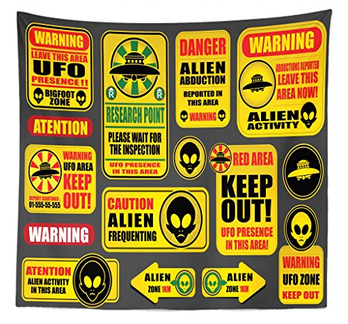 Lunarable Outer Space Tapestry Queen Size, Warning Ufo Signs with Alien Faces Heads Galactic Theme Paranormal Activity Design, Wall Hanging Bedspread Bed Cover Wall Decor, 88 W X 88 L Inches, Yellow by Lunarable
