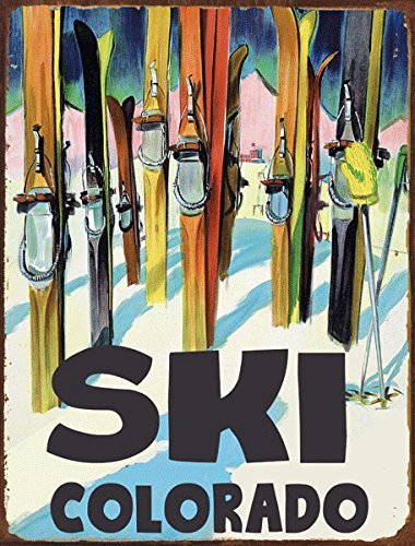 - Ski Colorado Metal Sign, Retro Decor, Vintage Travel Postcard Highlighting Traditional American Destinations