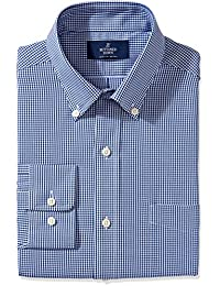 Men's Classic Fit Gingham & Stripe Pattern Non-Iron Dress Shirt