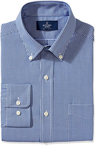 BUTTONED DOWN Men's Classic Fit Button-Collar Non-Iron Dress Shirt, Blue Gingham, 16