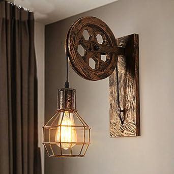 WKLCF Roue Applique Murale Rétro E27 Lampe Murale Vintage Décorative ...